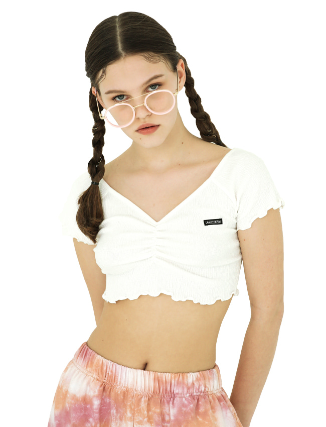 Shirring Crop Top [White/Light Yellow/Black]